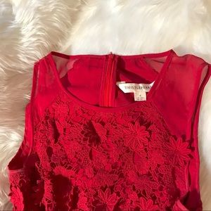 Lace detailing red dress
